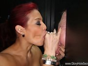 This is Ryder's first experience in a gloryhole booth and