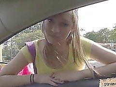 Pretty amateur brunette teen London Smith railed outdoors