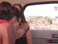 Huge Tits MILF Ava Addams And Dana Vespoli Lesbian Sex Outdoors In Public
