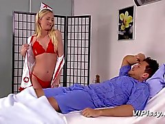 Cute nurse sucks piss off hard cock