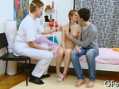 Young babe gets a lusty slit examination before threesome