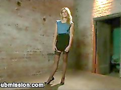 Tied up blonde babe Kara Price ass hooked and fucked from behind