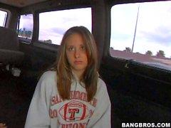 Amateur slut reveals her boobs in bang bus
