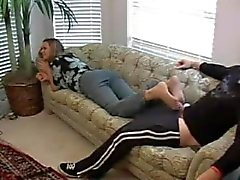 Sister in Law gives Pantyhose Footjob