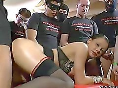 Shaved German whores get gang banged and piss showered