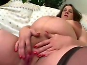 Pregnant Housewife Cums while Fingering