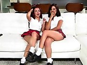 Veronica gets fucked by teen lesbians