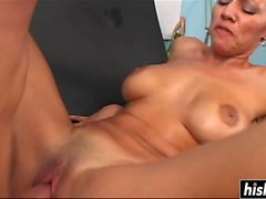 Desirable chick gets a big hard boner