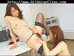 Asian hairy lesbos twosome
