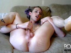Two hot bitches jerk off a single small cocker