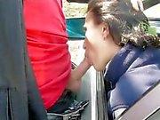 Da vagabunda dá a do BJ a partir da janela da carro.