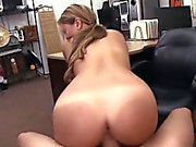Petite waitress banged by pawn keeper in the back office