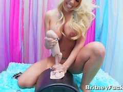 Blonde babe Britney Amber rides a Sybian