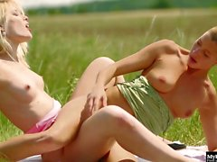 Hot lesbian couple with perfect teen outdoor