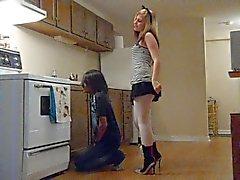 Ballbusting - Teen in Miniskirt Knees Balls