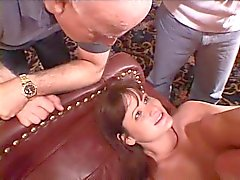 Perfect brunette slut wife gets a nice hard ass fucking as her husband watches