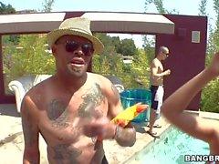 Pool party con el Estrellas de Porno de Ashli Orion y el London Keyes
