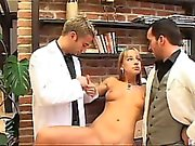Sweet Carmelita had no idea that she was in for a thorough inspection. These so-called doctors didn't even have any equipment! But, for the inspection they were going to do the only equipment they needed was their juicy cocks!