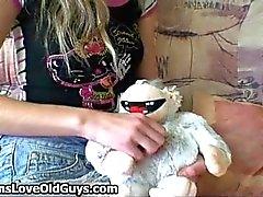 Cute teen girl spreads her legs part1