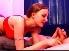 Hot Redhead Gives Sensual Blowjob in Lingerie