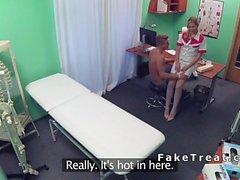 Blond amateur patient bangs blonde nurse