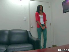 Backroom casting with amateur Latina Isabella Pena
