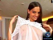 Fresh brunette Eve Angel doing deep penetration using both her dildo