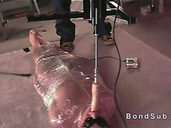 Wrapped in plastic slave gets fucking machine
