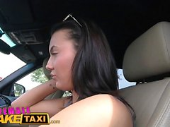 Female Fake Taxi Pussy licking makes sexy driver cum