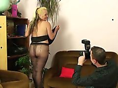 He fucks his girlfriends mother in pantyhose