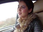 Pretty teenie Lady D railed in the car
