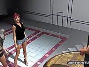 Двое горячих 3D мультяшка Babes Дайте Гвоздик