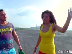 Sandra flashes hee latin boobs on the beach