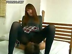 Japanese Pantyhose facesitting and footjob - uncensored