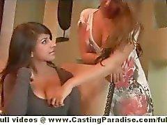 Ella Milano en Alyssa Branch en Layla Rose amateur schattig lesbiennes hebben van grote orgie