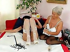 Old grandma gets naughty at her age with another amateur