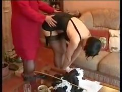 Matur spanks maid