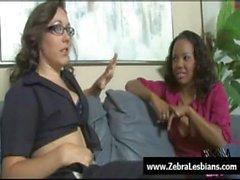 Zebra Girls - Ebony lesbian babes enjoy deep strap-on fuck 19