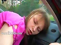 трахает с моим грудастой девушки в машине