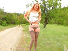 outdoor stripping with beauty in nylons