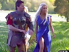 Princess and servant with big tits fuck a savage man