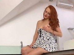 Pissing redhead undressing snatch