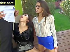 threesome hoes swap cum in the outdoors