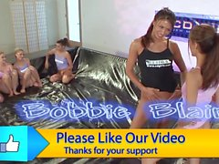 9 girl lesbian oil orgy intos and lubing up