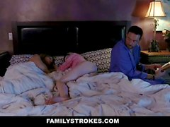Hot MILF caught step daughter fucking stepdad in their bed