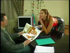 Hot mature in red pantyhose seduces boss