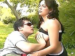 Gorgeous brunette sucks his boyfriends hard cock in outdoor!
