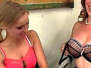 Office cougar fucking a teen blonde sex doll