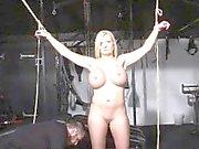 tied German slave Melanie gets electro training