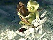 3D Alien Babe трахаются сложно чудовище
